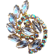 Vintage Rhinestone Brooch Cabochon Marquise and Blue Aurora Borealis Unsigned