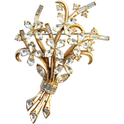 C1940s Crown Trifari Pat Pend Floral Rhinestone Brooch Pin Alfred Philippe Signed