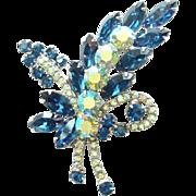 Juliana DeLizza & Elster Rhinestone Brooch Sapphire Blue AB Floral Spray