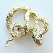 Vintage Rhinestone Figural Snake Brooch Faux Pearl in Mouth Unsigned