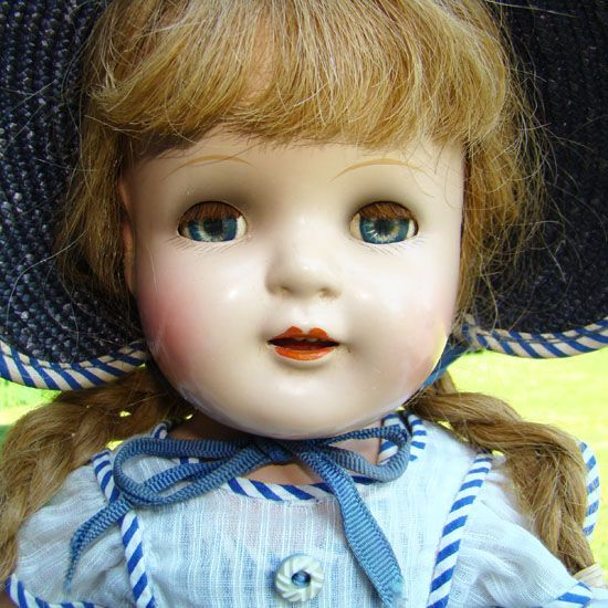 C1930s Arranbee Composition Nancy Doll 17 Inch in Original Sunsuit Hat Outfit