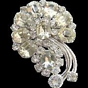 Vintage Kramer Sterling Silver Clear Rhinestone Stylized Floral Brooch Pin Emerald Cut Stones