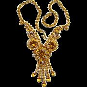 Juliana DeLizza Elster Amber Rhinestone Necklace with Dangles Fabulous