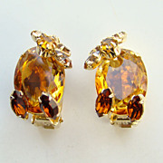 Vintage Alice Caviness Amber Topaz Rhinestone Clip Earrings Signed