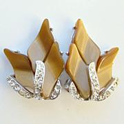 Vintage Kramer Rhinestone Clip Earrings Beige Thermoset Plastic Signed