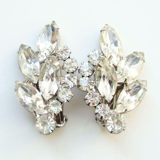 Juliana DeLizza & Elster Clip Earrings Clear Rhinestone