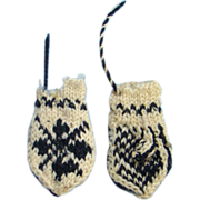 Old Miniature Scandinavian Knit Doll Mittens Very Tiny Blue White