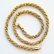 1983 Avon Gold Tone Mesh and Bead Choker Necklace Signed 17 Inches
