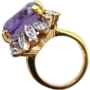 Vintage Panetta Sterling Silver Vermeil Cocktail Ring Amethyst Rhinestone Size 6.5