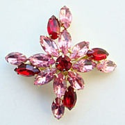 Vintage Rhinestone Brooch Pin Ruby Red and Pink Unsigned