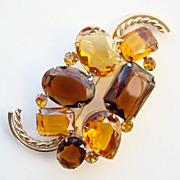 Vintage Marvella Rhinestone Pin Brooch Massive Amber Topaz Gold Tone Signed