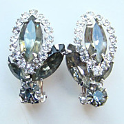 Vintage Weiss Clip Earrings Smoke Rhinestone Rhodium Plated  Signed