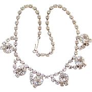 Vintage Clear Crystal Rhinestone Choker Necklace Rhodium Plated Unsigned