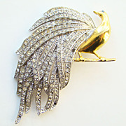 Vintage Figural Bird Brooch Diamante Rhinestone Feather Plumage Book Piece Fabulous