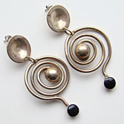C1960-70 Vintage Mexico Pierced Earrings Modernist Studio Made Possibly 900