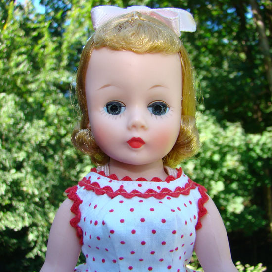 1958 Cissette Doll Blonde Red Dot Dress Teddy High Color Madame Alexander