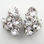 Vintage Kramer Clear Ice Rhinestone Clip Earrings Signed