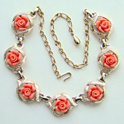 1960 Sarah Coventry Necklace Fashion Faux Coral Gold Tone Signed
