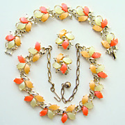 C1950s Thermoset Parure Bracelet Necklace Earrings Tangerine Orange Yellow Unsigned