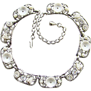 Vintage Selro Rhinestone Simulated Pearl Link Necklace Silver Tone Signed