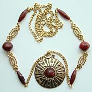 Vintage Sarah Coventry Safari Pendant Necklace Signed 1978 Book Piece
