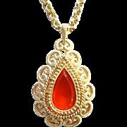 1973 Avon Granada Pendant Necklace Ruby Stone Double Gold Tone Chain