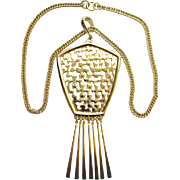 Vintage 1970s Shiny Gold Tone Pendant Necklace with Long Dangles Unsigned