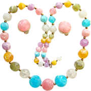 Vintage Kramer Pink Turquoise Yellow Lavender Plastic Bead Necklace Earrings