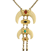 Vintage Egyptian Revival Pendant Necklace Lucite Simulated Gemstones Unsigned C1970s