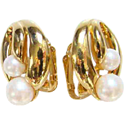 1992 Avon Clip Earrings Modern Classic Faux Pearl Accent Signed