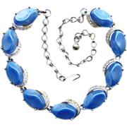 Vintage Cornflower Blue Thermoset and Rhinestone Choker Necklace Unsigned C1950s
