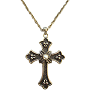 Sarah Coventry 1975 Limited Edition Gold Tone Peace Cross Pendent Necklace in Original Box