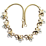 Vintage 1950s Crown Trifari Clear Rhinestone Gold Tone Choker Necklace Signed