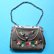 Old Childs Floral Embroidered Leather Purse Bag With Red Leather Lining Steel Cut Beads