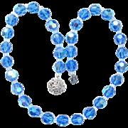 Vintage Blue Aurora Borealis Crystal Bead Necklace Clear Rhinestone Clasp
