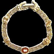 Vintage Goldette Single Cameo Goldtone Bracelet Signed