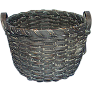 SOLD Old 19thC 1800s Miniature Handled Gathering Basket Very Dark Blue Paint Ash Splint