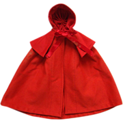 Old Original Shaker Cardinal Red Wool Dorothy Cloak Cape for Dressed Bisque Doll Late 19thC