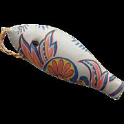 Old Sewing Pin Needle Holder Printed Silk Fish Shape