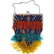 Flapper Era Art Deco Fringed Beaded Purse Bag Blue, Red, Orange, Teal Yellow Glass Beads