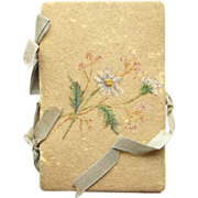 Old C1900s Hand Painted Floral Sewing Needle Pins Case Holder Hand Stitched