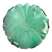 Fabulous Old Sterling Silver Green Chrysoprase Brooch Made in Mexico Carved