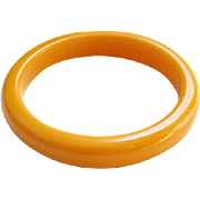 Vintage Butterscotch Yellow Orange Bakelite Bangle Bracelet Tests Positive Costume Jewelry