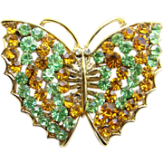 Figural Butterfly Brooch/Pin Green Amber Yellow Rhinestones Vintage