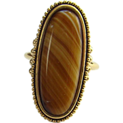 1978 Avon Shimmering Sands Striated Agate Ring Size 6.5 to 7