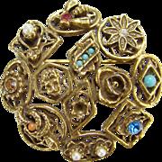 Vintage Goldette Circular Brooch Similar to Slide Bracelet Signed