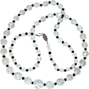 Vintage Clear Crystal Bead Graduated Necklace Black Bead Spacers 29 Inch Opera Length