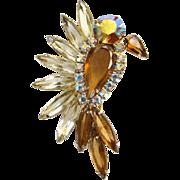 Juliana Upright Flying Bird Figural Pin Topaz Rhinestone 1963 DeLizza Elster Book Piece