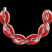 Vintage Lisner Red Plastic Thermoset Oval Link Bracelet Signed Mid Century