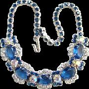 Juliana Sapphire Blue Clear Rhinestone Choker Necklace 5 Link Silvertone DeLizza Elster Verifi